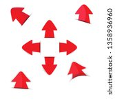 red arrow stickers with shadow | Shutterstock .eps vector #1358936960