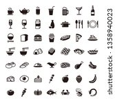food and drink icons set | Shutterstock .eps vector #1358940023