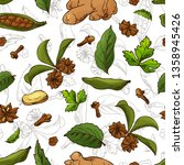 seamless pattern with aromatic... | Shutterstock .eps vector #1358945426