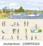 fishing activity concept with... | Shutterstock .eps vector #1358955263