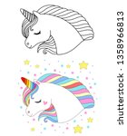 cute unicorn face. vector... | Shutterstock .eps vector #1358966813