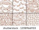 coffee cups  beans  mugs ... | Shutterstock .eps vector #1358966933