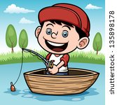 Vector illustration of Boy fishing in a boat - stock vector