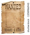 wanted wild west poster on... | Shutterstock . vector #1358986943