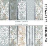 damask patterns set collection... | Shutterstock .eps vector #1358996873