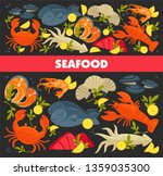fish and lobster seafood crab...   Shutterstock .eps vector #1359035300