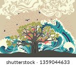 stylized tree and stormy ocean... | Shutterstock .eps vector #1359044633