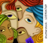 abstract design with five faces | Shutterstock . vector #135904769