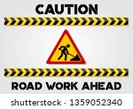 road work ahead sign and... | Shutterstock .eps vector #1359052340