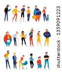 people waiting in queue lining... | Shutterstock .eps vector #1359091223