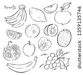 hand drawn fruits vector.... | Shutterstock .eps vector #1359135746