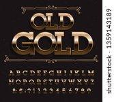 old gold alphabet font. beveled ...   Shutterstock .eps vector #1359143189