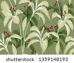 exotic lilies   vector seamless ... | Shutterstock .eps vector #1359148193