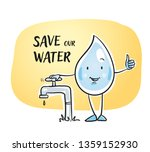 cute cartoon water drop... | Shutterstock .eps vector #1359152930