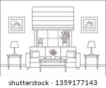 living room interior. linear... | Shutterstock .eps vector #1359177143