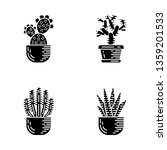 house cacti in pot glyph icons... | Shutterstock .eps vector #1359201533