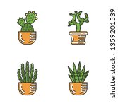 house cacti in pot color icons... | Shutterstock .eps vector #1359201539