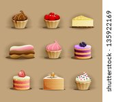 set of delicious cakes | Shutterstock .eps vector #135922169