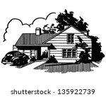 suburban house   retro clip art ...   Shutterstock .eps vector #135922739