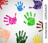 colored hand print icon  vector ... | Shutterstock .eps vector #135923429
