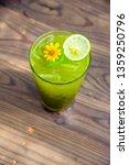 matcha green tea has a thin... | Shutterstock . vector #1359250796