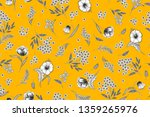 floral pattern on yellow...   Shutterstock . vector #1359265976