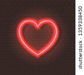 neon shining heart  glowing... | Shutterstock . vector #1359338450