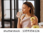 glass of milk. young woman with ... | Shutterstock . vector #1359356126