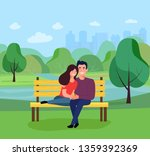 young couple sitting on bench... | Shutterstock .eps vector #1359392369