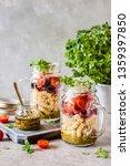 italian pasta salad in a jar... | Shutterstock . vector #1359397850