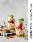 italian pasta salad in a jar... | Shutterstock . vector #1359397853