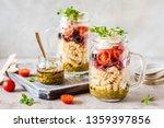 italian pasta salad in a jar... | Shutterstock . vector #1359397856