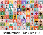 the collage of faces of... | Shutterstock . vector #1359405110