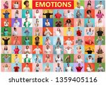the collage of faces of... | Shutterstock . vector #1359405116
