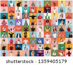 the collage of faces of... | Shutterstock . vector #1359405179