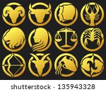 stylized icons of zodiac signs...