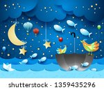 surreal seascape with moon ... | Shutterstock .eps vector #1359435296