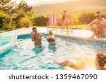 group of friends at a poolside...   Shutterstock . vector #1359467090