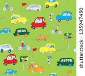 kids in the car seamless... | Shutterstock .eps vector #135947450