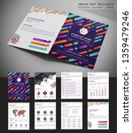 Colorful abstract geometric Minimal vector brochure design. Cool gradients. Future geometric template