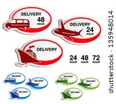 Vector shipping, delivery oval stickers - car, ship, plane - stock vector
