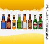 Beer Bottles Isolated On White...