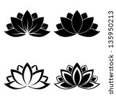 Stock vector four lotus silhouettes for design vector 135950213
