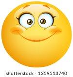 Stock vector happy cute female emoticon smiling 1359513740