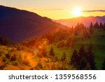Amazing nature, summer sunset landscape. Mountainside with green fir trees in sunlight, sunny grass and golden sky with sun. Outdoor travel background