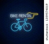bicycle rent glowing neon sign... | Shutterstock .eps vector #1359574019