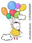 cute card with a mouse in a...   Shutterstock .eps vector #1359600089