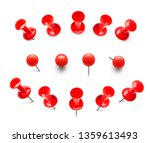 huge set of red push pins. pins ... | Shutterstock .eps vector #1359613493