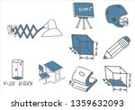 set of school equipment doodle... | Shutterstock .eps vector #1359632093