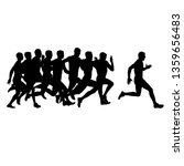 set of silhouettes. runners on... | Shutterstock .eps vector #1359656483